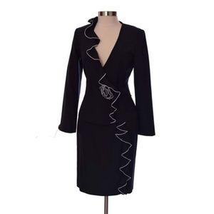 Lela Rose Black Blazer Skirt Suit Set  Size 8